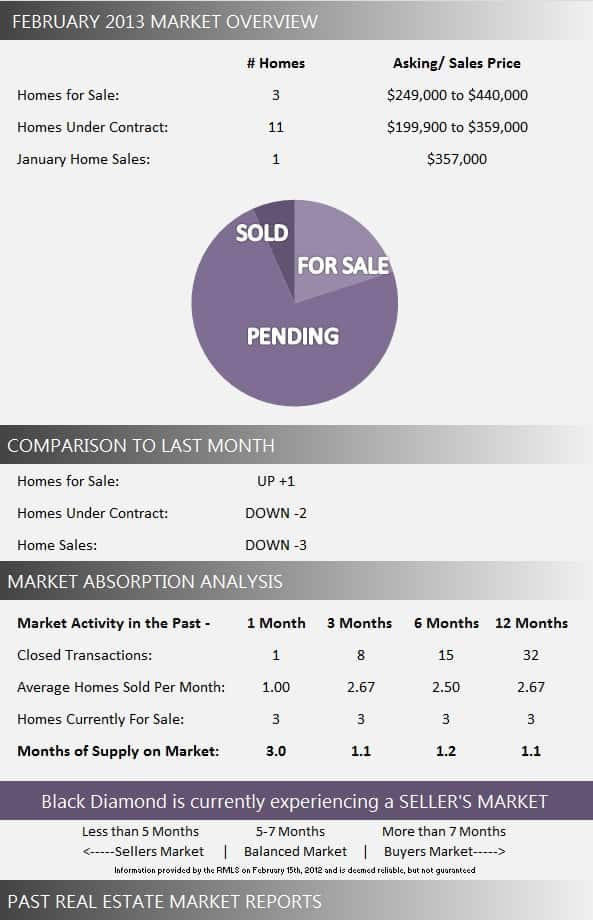 Black Diamond Real Estate Market Report February 2013