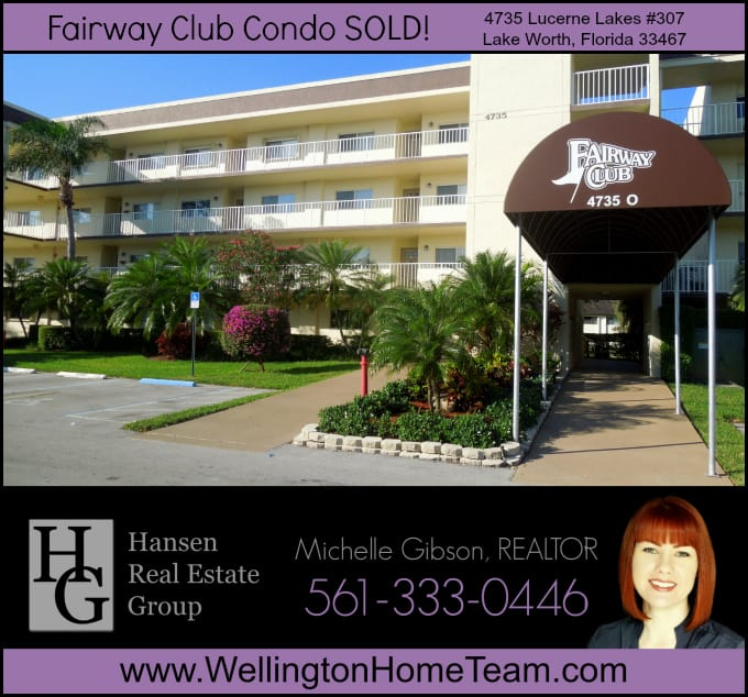 Fairway Club Condo SOLD 4735 Lucerne Lakes #307, Lake Worth, Florida 33467