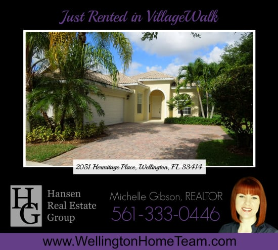 Just Rented in VillageWalk - 2051 Hermitage Place Wellington Florida 33414