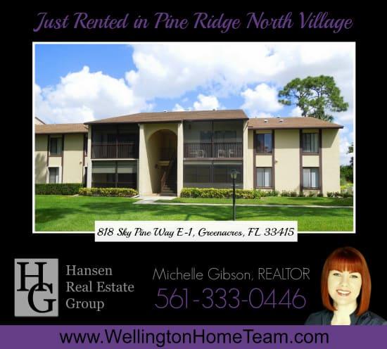 Pine Ridge North Village Condo Rented! 818 Sky Pine Way E-1, Greenacres, Florida 33415