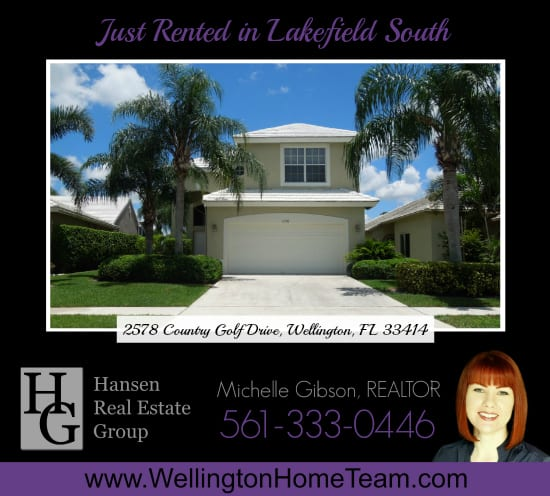 Lakefield South Home Rented! 2578 Country Golf Drive, Wellington, Florida 33414