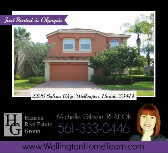 Olympia Home Rented! 2206 Balsan Way, Wellington, Florida 33414