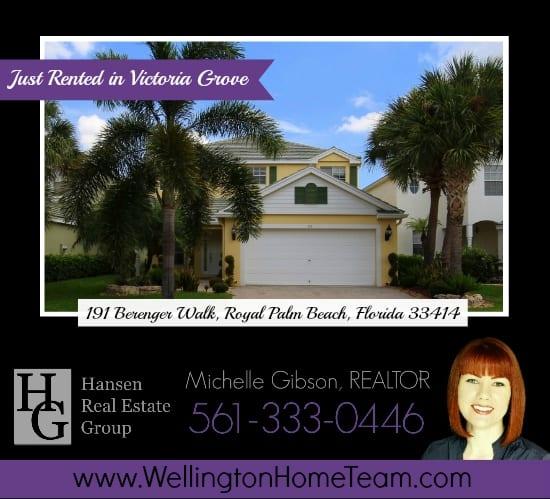 Victoria Grove Home Rented! 191 Berenger Walk, Royal Palm Beach, Florida 33414