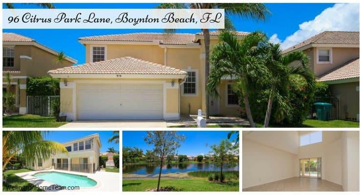 Boynton Estates Pool Home for Sale 96 Citrus Park Lane, Boynton Beach, Florida 33436