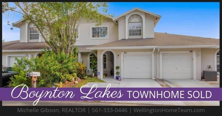 Boynton Lakes Townhome SOLD! 50 Desford Lane